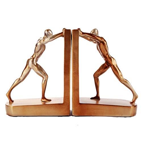 Sujeta Libros Sujetalibros Resina de oro escultural sujetalibros Establece Sala de Estudio Sala gabinete del vino adornos de decoración de caracteres sujetalibros regalo del arte Creativa Sujetalibros