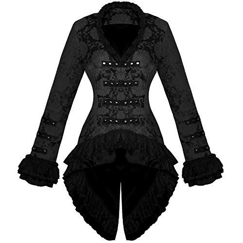 Hearts and Roses London Damen Schwarz Gothic Militär Satin Steampunk Blumenmuster Brokat Jacke Mantel Hervorragende Qualität 16 XL