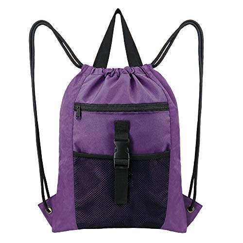 Purple-Drawstring-Gym-Backpack-Bag w Inside Pocket for Teens Girls Boys Sports Ripstop Nylon Machine Washable String Bag Pack Large Durable Cinch Gymsack w Zip Mesh Pocket