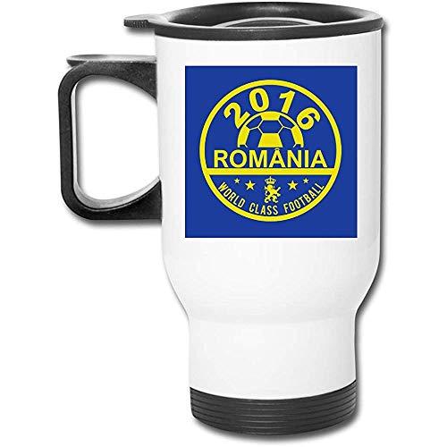 Euro 2016 Fútbol Rumania Disco Azul 16 Oz Vaso inoxidable Taza de café de vacío de doble pared con tapa a prueba de salpicaduras