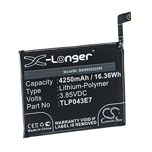 vhbw Batería Recargable reemplaza Alcatel TLP043E7 para móvil, Smartphone (4250 mAh, 3,85 V, polímero de Litio)