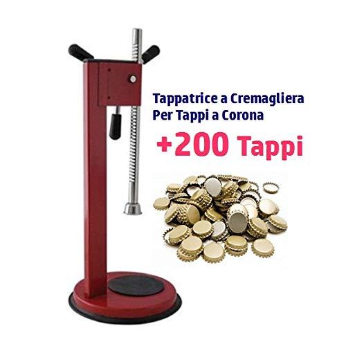 Tappatrice Cremagliera per Tappi a Corona +200 Tappi idonei alla bollitura in acciaio verniciato made in italy