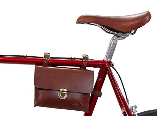 Gusti Borsa per Telaio in Pelle Canvas - Firmin L. Borsa per Bicicletta Borsa per Attrezzi Borsa da Donna per Telaio in Acciaio Marrone