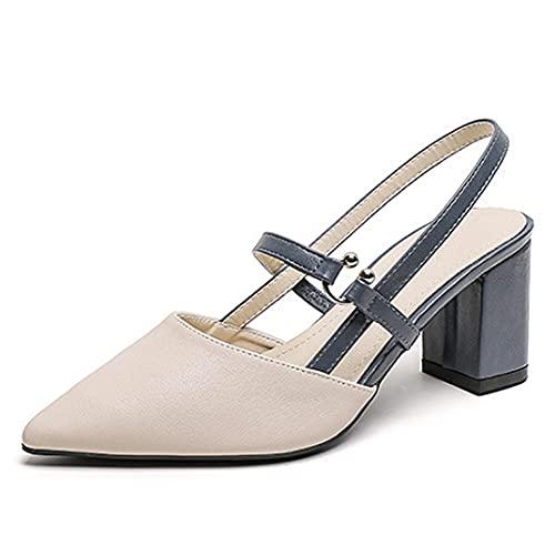 Damen Spitze Zehen Elegante zweifarbige Blockabsatz Slingback Pumps Ausschnitt Schnalle Chunky Heel Sandalen Blau Größe 40
