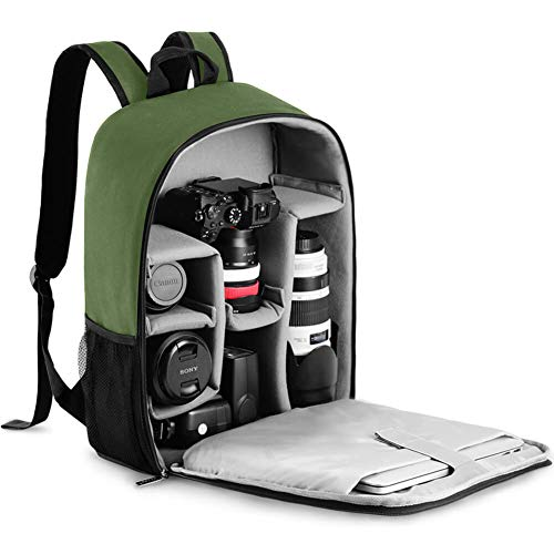 """CADeN Camera Backpack Bag with Laptop Compartment 15.6"""" for DSLR/SLR Mirrorless Camera Waterproof, Camera Case Compatible for Sony Canon Nikon Camera and Lens Tripod Accessories Green"""