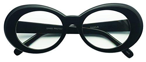 Original Classic Dark Oval Lens Kurt Cobain Inspired Nirvana Bold Trending Sunglasses (Black   Clear, 65)