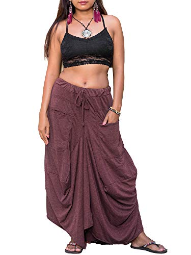 Thaluta Women's Maxi Skirt Bohemian with Pockets Gypsy Elastic High Waist Cotton Red