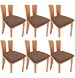 TIANSHU Funda Asiento Silla,Fundas elásticas para Asientos de sillas de Comedor y Oficina Jacquard Poliéster Elástica Fundas sillas Duradera(Paquete de 6,Café)