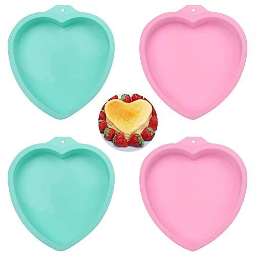 Stampi per tortiere in silicone da 4 pezzi, stampo per torta a forma di cuore Set di tortiere a strati da 6 pollici (Couleur aléatoire)