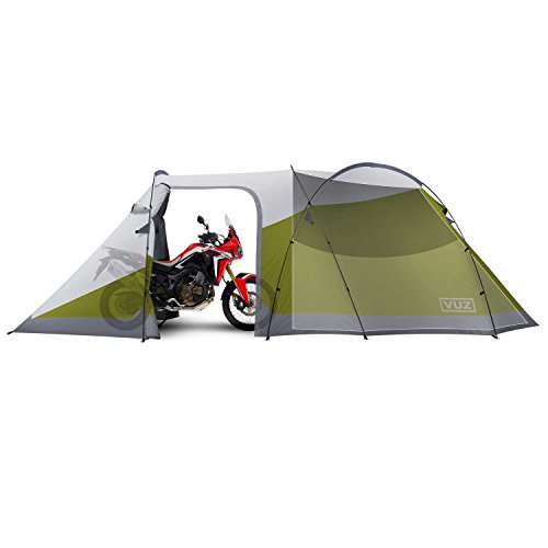 VUZ Moto 12-Foot Waterproof Motorcycle Tent with Integrated 3 Person Tent Space, 4 Points of Entrance, Motor-Bike Camping Shelter