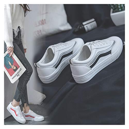 YTG Las Mujeres Zapatillas de Deporte de Moda 2020 breathble vulcanizados Zapatos PU de Las Mujeres Zapatos de Plataforma de Cuero Mujer Encaje Zapatos Casuales Blancos
