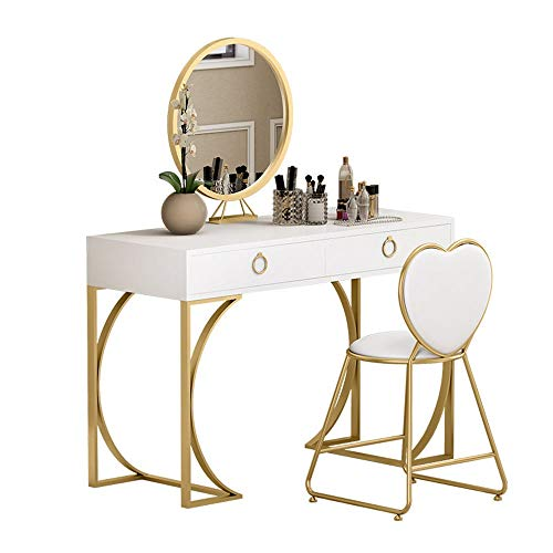 Sale!! DERTHWER Vanity Table Set, Multifunctional Solid Wood Makeup Table Set Mirror & Cushioned Sto...