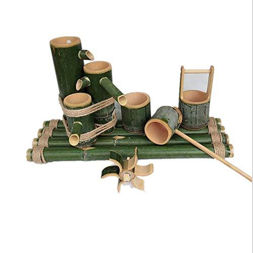 LITI Bambusbrunnen Für Den Garten Springbrunnen Bambus Wasserspiel Auslauf Mit Pumpe Gartendekoration Wasserfall Outdoor Japanisches Garten Feature Skulptur Deko Statuen,60cm