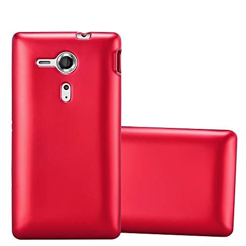 Cadorabo Custodia per Sony Xperia SP in ROSSO METALLICO - Morbida Cover Protettiva Sottile di Silicone TPU con Bordo Protezione - Ultra Slim Case Antiurto Gel Back Bumper Guscio
