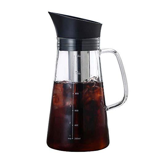 FANGYUN Cafetera De Preparación En Frío Cafetera/Tetera con Mango De Borosilicato, Filtro De Acero Inoxidable, Tamaño 6 Tazas 1.2L, Adecuado para Oficina En Casa