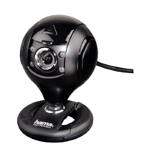 Hama HD Web-Cam mit Mirkofon (Streaming Kamera mit Abdeckung, Webkamera für Konferenzen und Meetings am PC, Laptop und Notebook) schwarz