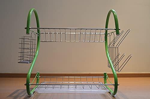 Escorredor de Louças Aramado - 33 cm - Color - com escorredor para talheres - Verde