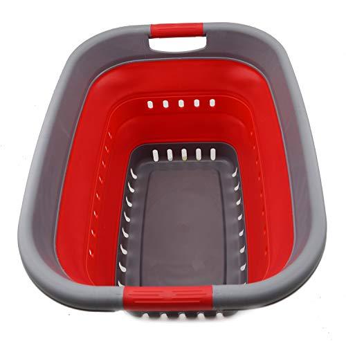 SAMMART Cesta plegable de plástico para la colada – Contenedor de almacenamiento plegable – Bañera portátil – Cesta de ahorro de espacio (1, gris/rojo)