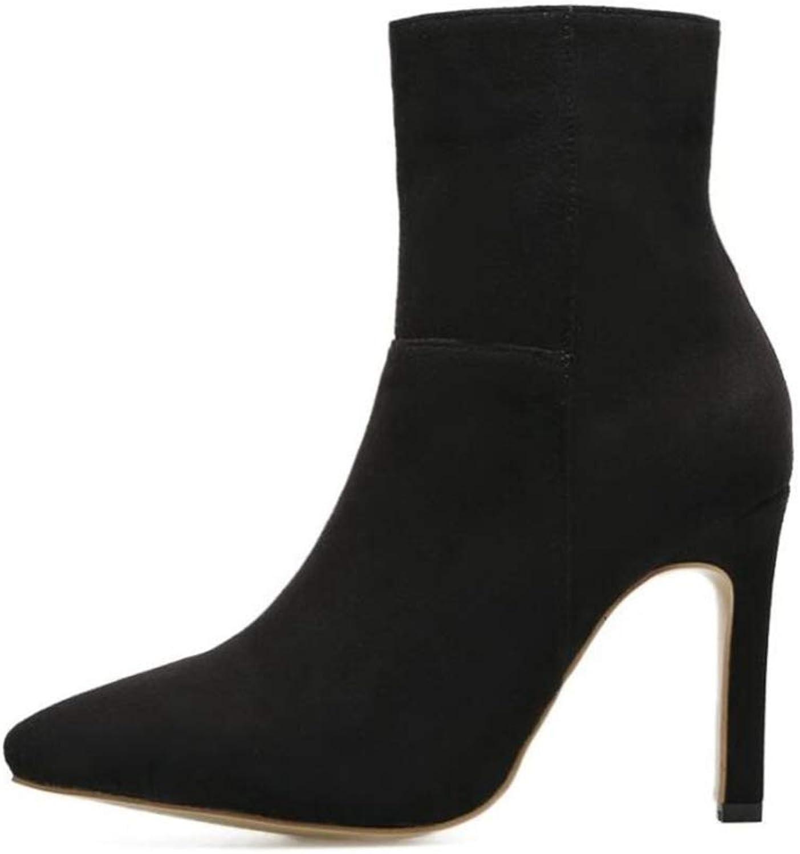 Shiney Women's Boots New Matte Booties Stiletto Heels Pointed Toe Suede High-Heeled Fashion Wild Autumn Winter
