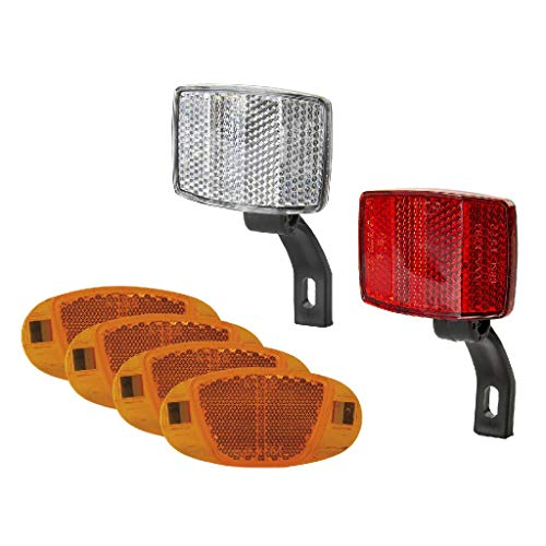 VENTURA Fahrrad Reflektoren-Set Front- & Rückstrahler Weiß/Rot + 4 Speichenreflektoren Katzenauge Orange