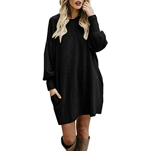 FRAUIT Maglioni Donna Lunghi Maglione Elegante Vintage Tinta Unita Top Manica Lunga Pullover Lavorato A Maglia A Maniche Lunghe Moda Sottile Sweater Vestito Autunno Inverno Abbigliamento