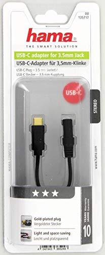 Hama Adapter USB-C auf 3,5-mm-Audio-Klinke (zum Anschluss von Kopfhörer/Lautsprecher an Geräte ohne Klinken-Buchse) schwarz