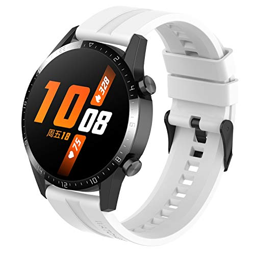 Tosenpo Strap for Huawei Watch GT 2 46mm / Huawei Watch GT / Watch GT 2e, Replacement Silicone Adjustable Sports Watch Straps with Black Buckle (White)