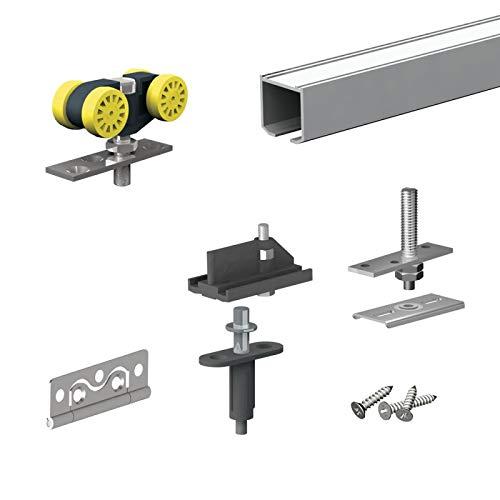 Schiebetürbeschlag FALTSYSTEM SLID'UP 140, Laufschiene 180 cm, für 2 Türen (4 Paneele) bis 25 kg, für Falttüren, Schränke