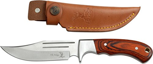 Elk Ridge - Outdoors Fixed Blade Knife - 9.5-in Overall, Mirror Finished Stainless Steel Blade, Full Tang, Wood Handle, Leather Sheath - Hunting, Camping, Survival - ER-052