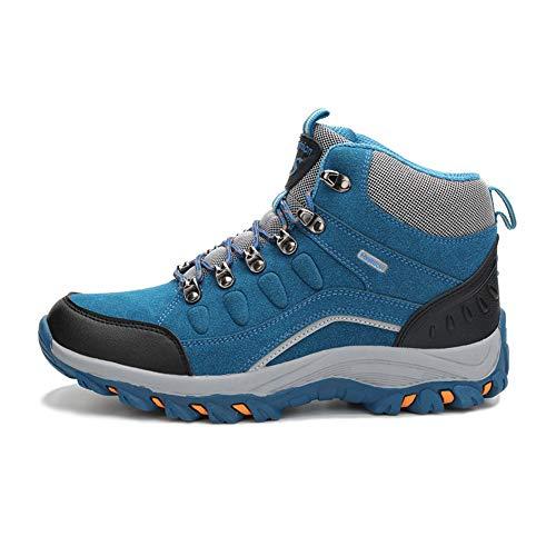 CXQWAN Hommes Plus Velours Chaussures De Marche en Plein Air, Bottes d'escalade Anti-Slip Escarpins À Lacets pour Randonner Voyager Randonnée Randonnée Camping,Bleu,42