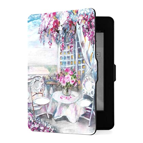 Kindle Paperwhite 1 2 3 Hülle, Ölgemälde Summer Cafe Paris Sanfte Pu Ledertasche...