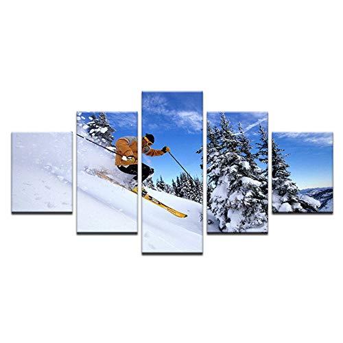 MMLFY 5 opeenvolgende schilderijen wintersport ski silk home decoratief schilderij canvas poster bergen skisprung landschap toerisme extreme sport