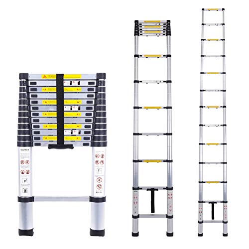 Acrohome Telescopic Ladder 3.8M Multi-Purpose Aluminium Telescoping Ladder Extension Extend Portable Ladder Foldable Ladder EN131 and CE Standards(3.8M/12.5Ft)