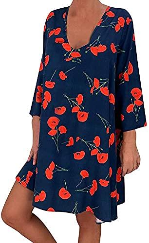 Yesgirl Vestiti da Donna Boho Cocktail V Collo Manica Lunga Tunica Ampia con Stampa Floreale Camicetta Lunga Vestiti Estivi Pulsante Mini Abito da Spiaggia Camicia D Blu Scuro M