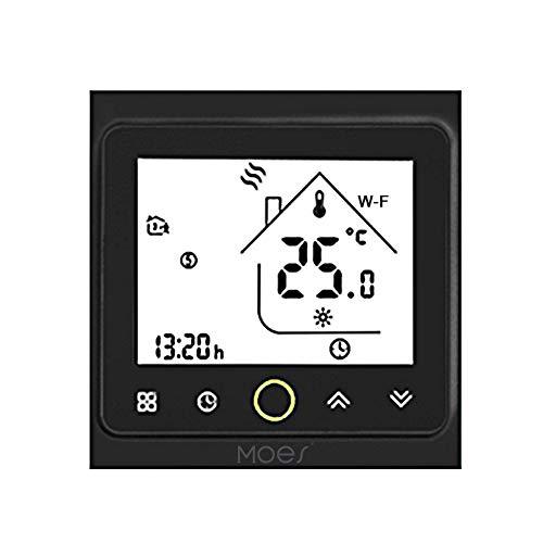 Ritioner MOES Wi-Fi Termostato Inteligente,Controlador de Temperatura,Control de APLICACIÓN 5A Compatible con Alexa/Google Home Water Heating for Home - Negro
