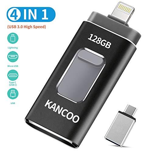 USB Stick 128GB für iPhone Externer Speicher Speichererweiterung USB 3.0 Flash Drive Kompatibel für Apple iOS iPhone XS/XR/5/6/7/8 11 pro iPad OTG USB C Mac PC KANCOO - Grau
