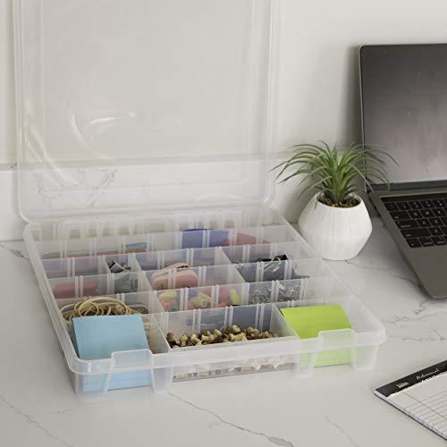 AB Designs 9101ABD Super Satchel delgado con divisores extraíbles, apilable, contenedor de organización para el hogar, transparente con pestillos plateados y asa