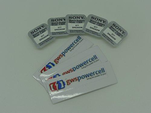 GOOD Sony 377 SR626SW Uhrenbatterie Knopfzelle Silber Oxiden Box Einzelhandel Karte Blister (5 Stück)