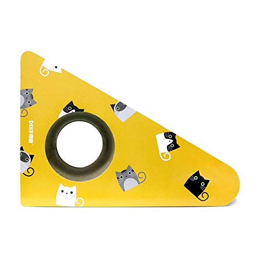 JIXIAO Juguete de Garra de Pulido CP-427 Campana de Pared Triangular Papel Corrugado Gato Tablero del rasguño Gato Litter Juguete de Garra de Pulido (Azul) (Color : Yellow)