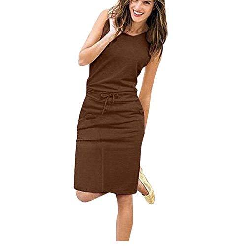 Women Causal Sleeveless Pockets Pencil Dress Summer Solid Drawstring Waist Beach Party Brown