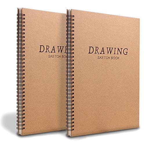 Skizzenblock A4, spiralgebunden, weißes Zeichenpapier, 160 g/m², Zeichenpapier, Zeichenblöcke, 60 Seiten, 30 Blatt, 2 Stück