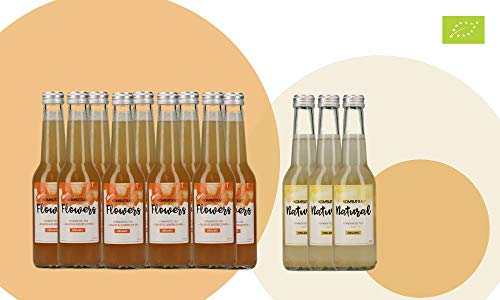 KOMBUTXA TE KOMBUCHA BEBIDA ECOLOGICA - 12x275ml te fermentado bio organic tea bebida energetica sin azucar añadido (Pack 9ud Flowers + 3ud Natural (gratis))