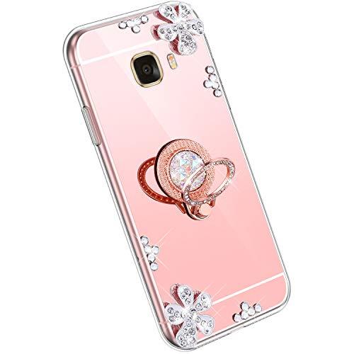 Ysimee Spiegel Hülle kompatibel mit Samsung Galaxy C7 [Ring Holder], Dünne Handyhülle Samsung C7 Bling Glitzer Diamant Hülle mit 360 Grad Ständer Kratzfest Stoßdämpfend Schutzhülle, Roségold