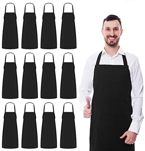 Utopia Kitchen 12 Pack Bib Aprons Bulk 32Inch by 28Inch with Extra Long Ties Black