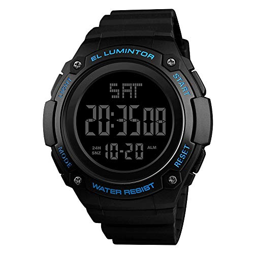 Outdoor Running 5ATM Relojes militares a prueba de agua, Reloj deportivo digital para hombres, Reloj militar de 12H / 24H para exteriores, Retroiluminación 100/1 Cronómetro, Calendario, Reloj
