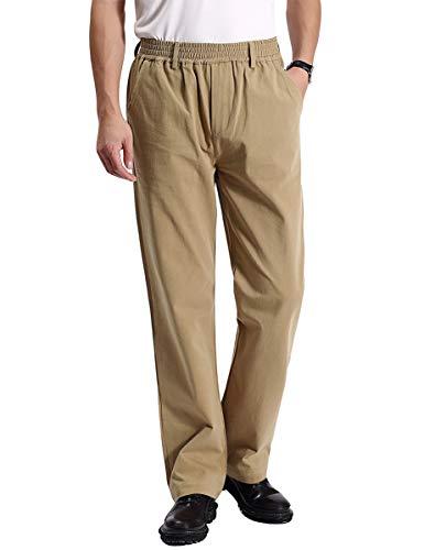 IDEALSANXUN Men's Casual Relaxed Fit Elastic Waist Twill Pant (Dark Khaki(Twill), 36)