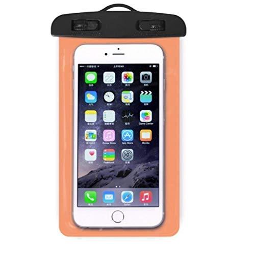 min Pochette sèche Universelle pour téléphone Portable Transparent Sac de téléphone Portable en PVC étanche pour la Natation Sac de Cas de téléphone de Sports Nautiques 105x175MM, Orange