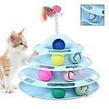 PIKA 猫 おもちゃ ボール ねこ 回転 タワー 遊ぶ盤 円盤 ぐるぐる回る玉ころ ボールレール 回転 ボール ターンテーブル 運動不足 ストレス解消 猫じゃらし付き(ピンク/ブルー)