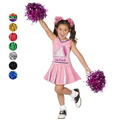 RETON 24 Stück Cheerleader Pompons, Metallische Cheerleading Ponpons, Pom Poms Puscheln Pompös Pimpoms für Kinder Cheer Sport, Spiele, Partys, Feiern, Aufführungen (Rosarot)