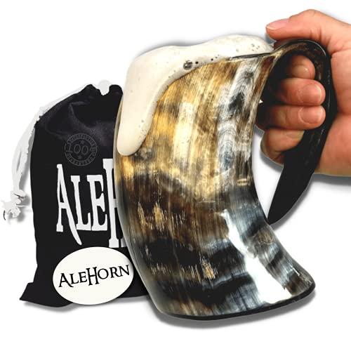 AleHorn hecho a mano de 16 onzas - 475 ml - Acabado Natural cuerno para beber jarra de cerveza